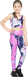 A2Z 4 Kids Girls Honeycomb Pink Leggings Crop Top Vest Dance Yoga Exercise High Waist Set