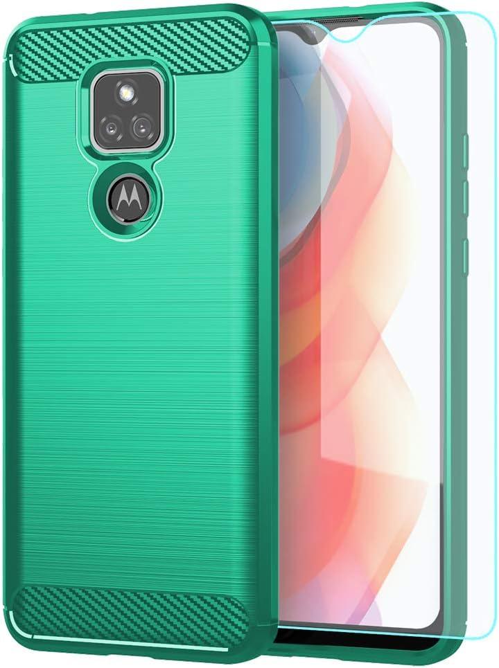 Moto G Play 2021 Case,with HD Screen Protector,Shock-Absorption Flexible TPU Bumper Cove Soft Rubber Protective Case for Motorola Moto G Play 2021 (Green Brushed TPU)