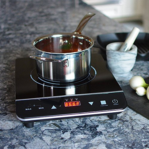 INDUXPERT Induction Cooktop Burner - Lightweight & Portable - Free Ebook - With Built In Child Safety Lock - (Only works with Induction Compatible Cookware) - 1800 Watt
