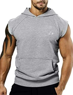 Men's Bodybuilding Sleveless Hoodies Gym Workout Hooded Tank Tops