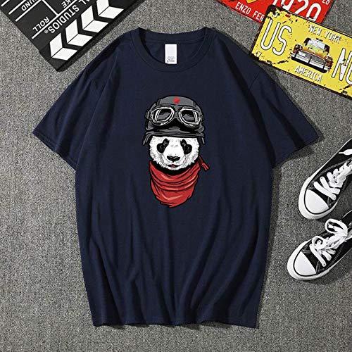 SELLM Summer Men animal panda printing T Shirt Fashion Men Short Sleeve O Neck T-Shirt Cotton Hip Hop Rock Streetwear Men Clothing,Navy Blue,S