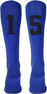 Three street Unisex Athletic Knee High ID Socks Team Number Sports Sock for Soccer Softball Baseball Lacrosse 1 Pair