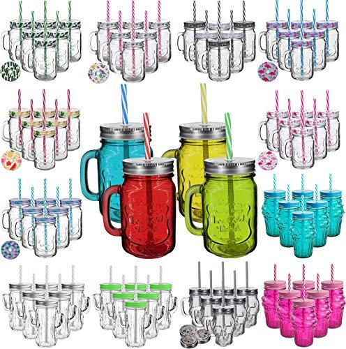 My-goodbuy24 6er Set Trinkbecher Trinkgläser Sterne 2 Desgins mit Deckel und Strohhalm - Trinkglas - Cocktailglas - Glas - Gläser - Füllmenge 450 ml