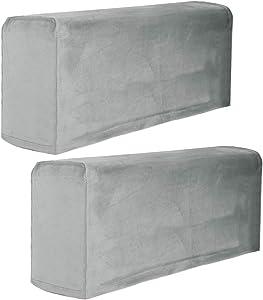 Garneck 2Pcs Stretch Fabric Armrest Covers Anti-Slip Spandex Recliner Armchair Couch Armrest Protector Furniture Protector Armchair Slipcovers Grey