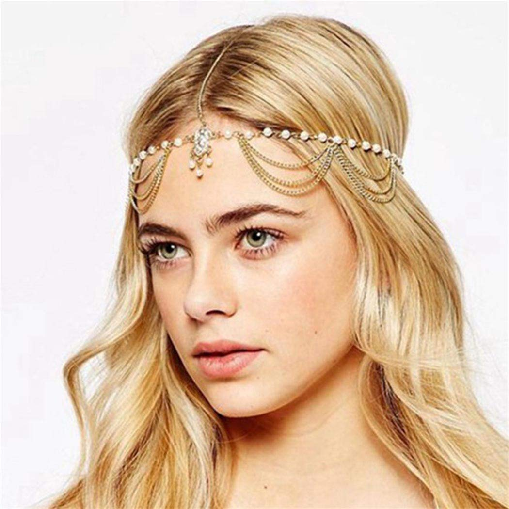 Zoestar Pearl Head Chain Tassel Headband Fashion Headpiece Jewelry for Women