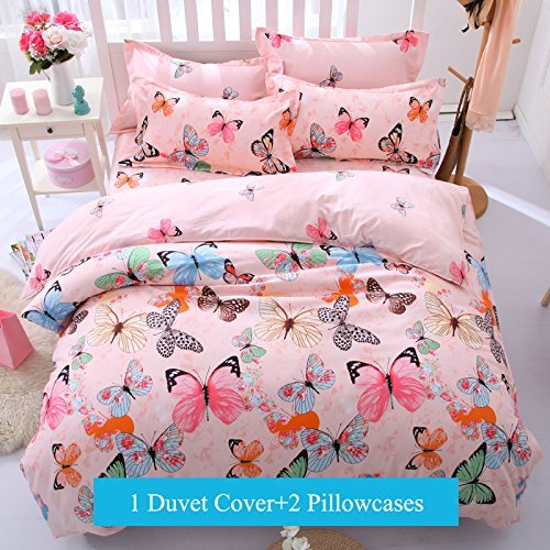 Bedding Duvet Cover Set 3-pieces Twin Size Microfiber, Pink Green Brown Blue Black Butterflies Prints Animal Floral Patterns Design,Without Comforter (Twin, (1Duvet Cover+2Pillowcases)#01)