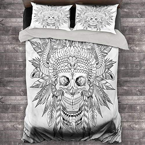 LanQiao Tattoo Pillow Duvet Cover Chief of Tribe with Feather. 104'x89' inch King Duvet Cover