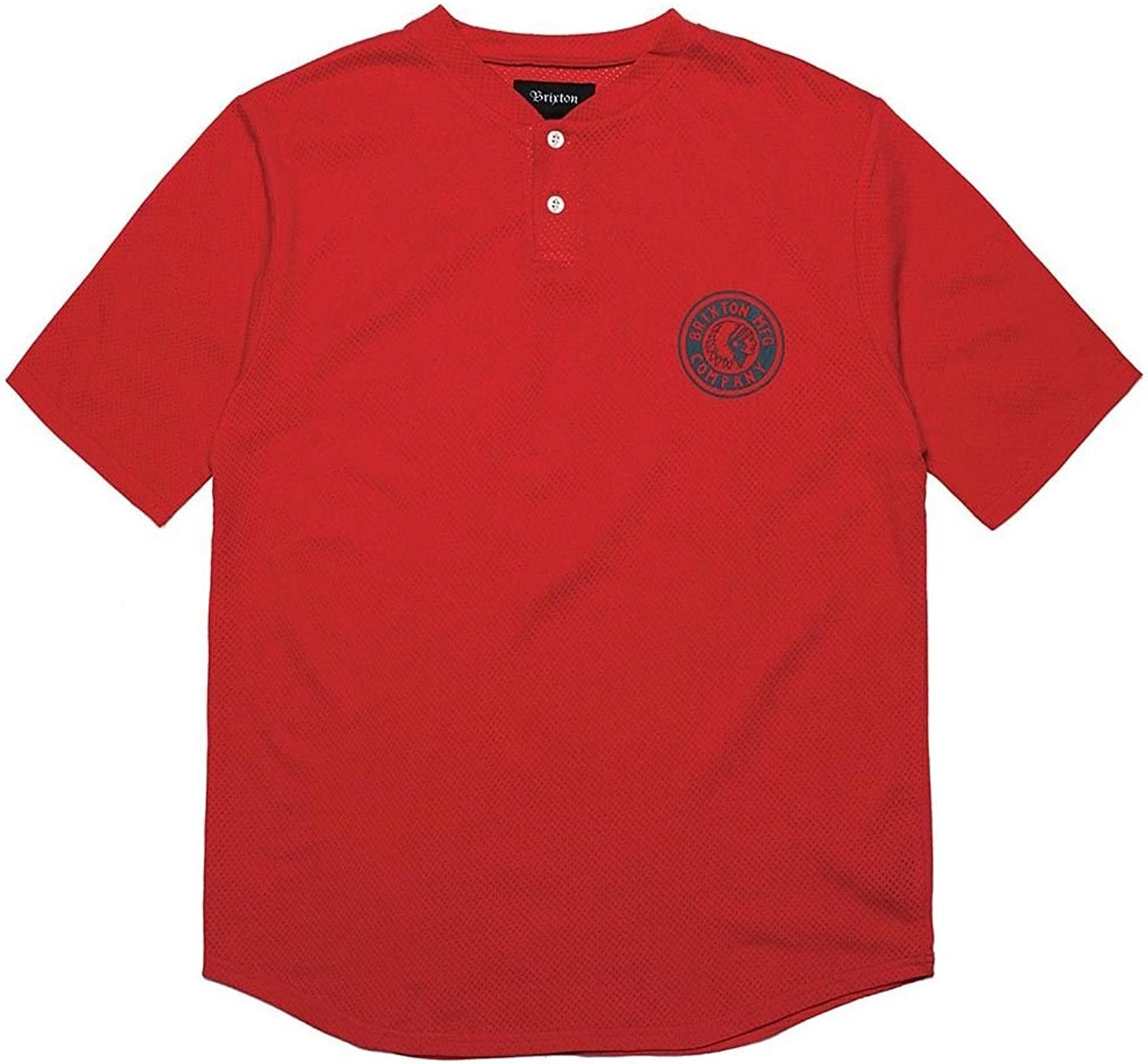 0ae5b7a73602bb Brixton Rival Henley Henley Henley T-Shirt Red 0fc3f0 - faoskc ...