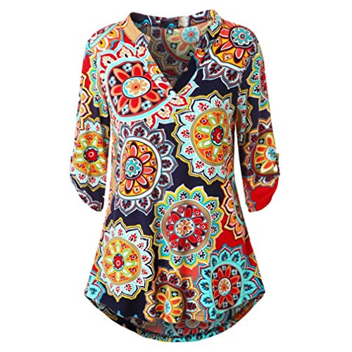 ESAILQ Damen Blumenmuster Langarmshirt A-Linie Hem Tunika Stretch Longshirts(XL,Rot)