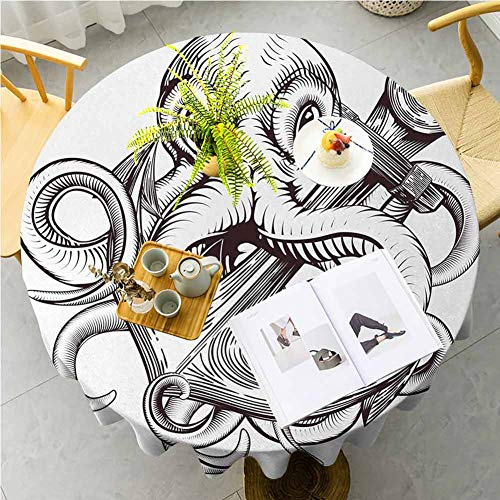 JKTOWN Anchor Kitchen Table Tablecloth Spring Dining Room And Kitchen Decorative 67 inch Monochrome Octopus Tattoo Art Style Naval Sketch Mythical Kraken Beast Design Brown And White