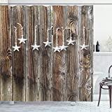 Ambesonne Prehistoric Country Shower Curtain, Grey Colored Ornate Stars on Wooden Rustic Fence Cabin Design Print, Cloth Fabric Bathroom Decor Set with Hooks, 75' Long, Grey Brown