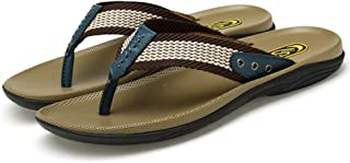 QinMei Zhou Men's Soft Comfortable Lightweight Casual Flip Flops PU Leather Summer Beach Slippers Two Tones Waterproof Quick-Drying Anti-Slip Flat (Color : Blue, Size : 6.5 UK)