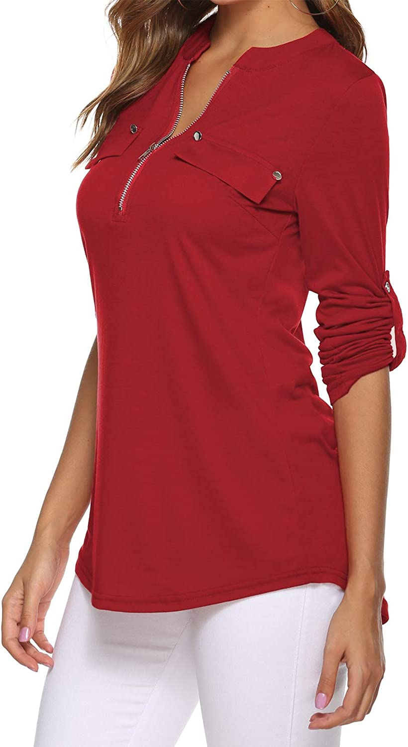 LuckyMore Womens V Neck Zip Cuffed Sleeve Flowy Business Casual Work Tunic Tops Shirts Blouse