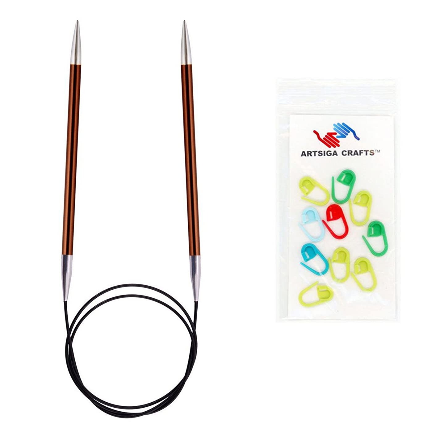 Knitter's Pride Zing Fixed Circular Knitting Needles 40in. Size US 9 (5.5mm) Bundle with 10 Artsiga Crafts Stitch Markers 140162