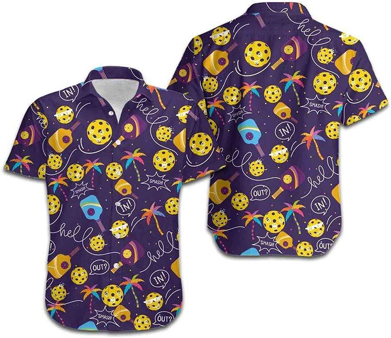 Hawaiian Aloha Shirts Funny Pickleball Symbol Shirt for Spring Break and Summer - Beach Top Blouse Casual Funny