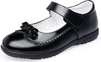 QHamThim Girl's Mary Jane Black School Uniform Outdoor Oxford Loafer Dress Shoe(Toddler/Little Kid/Big Kid)