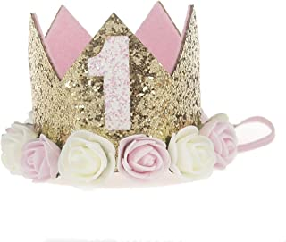 Baby Princess Tiara Crown, Baby Girls/Kids First Birthday Hat Sparkle Gold Flower Style..