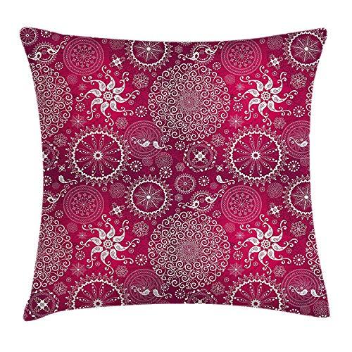 Butlerame Funda de Almohada de Tiro de Mandala púrpura, Flor Vintage estilizada Bohemia y patrón destacado Turco de Anatolia, 18 x 18 Pulgadas, Magenta Blanco