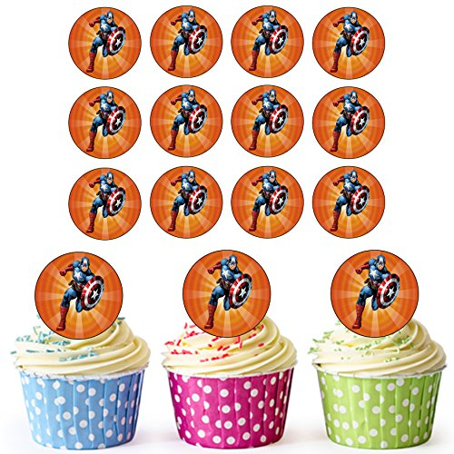 Captain America Superhero Cupcake Toppers/Cake Decoraties (Pak van 24) - Easy Precut Circles