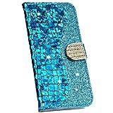 Ysimee Compatible avec Huawei Mate 20 Lite Coque Paillette Brillante Bling en Cuir PU Epissure Etui avec [Fentes pour Cartes][Magnétique][Fonction Support]Housse Couverture à Rabat Wallet Case,Bleu