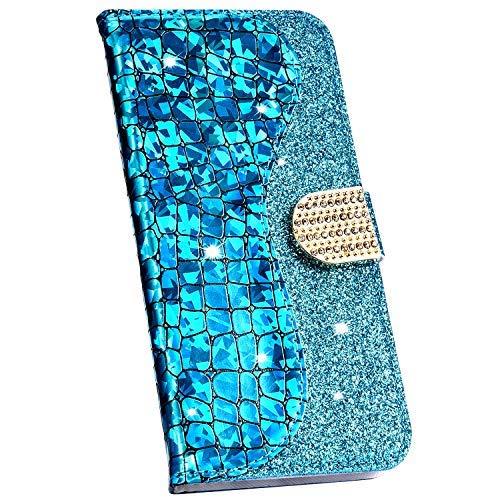 Ysimee Hülle kompatibel mit Samsung Galaxy J6 Plus 2018 Schutzhülle mit Kartenfach und Ständer, Glänzend Flip Tasche Laser Spleißen Lederhülle Wallet Brieftasche Klappbar Kratzfest Handyhülle/Blau