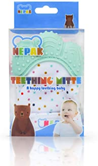 NEPAK Teething Mitten 2 Pairs-Baby Glove Stimulating Teether Toys for Boys & Girls-Teething Glove for Child (Coral an...