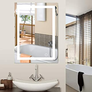 Miroir de Salle de Bains, Miroir de Maquillage de bâti de Mur de LED 5050 avec Le Bouton de Contact Nouveau pour la Salle ...