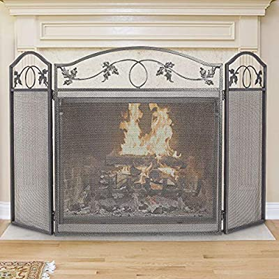 Amagabeli Indoor Fireplace Screen 3 Panel Pewter Wrought Iron Large Screen Outdoor Metal Decorative Mesh Cover Solid Fire Place Fence Leaf Design Steel Spark Guard Fireplace Panels by F&T
