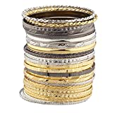 LUX ACCESSORIES Mixed Metal Textured Multiple Aztec Bangle Set