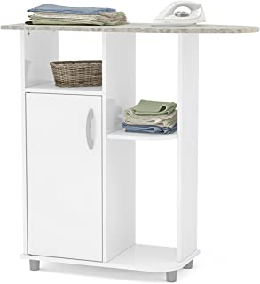Boahaus Ironing Cart, White, 4 casters Wheels, 1 Closed Compartment White