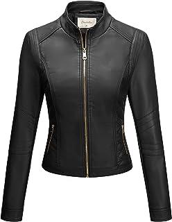 Sponsored Ad - Geschallino Women's PU Leather Jacket, Moto Biker Jacket with Zip Pockets, Vintage Short Coat for Autumn, S...