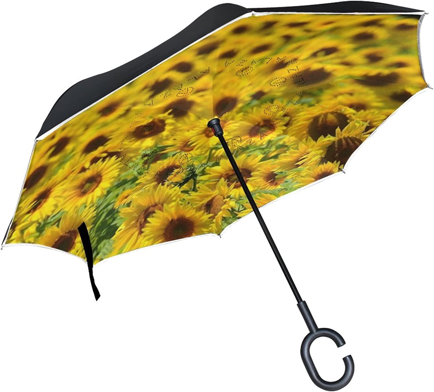 OREZI Double Layer Ingreened Umbrellas Reverse Folding Umbrella Windproof Predection Big Straight Umbrella for Car Rain Outdoor with CShaped Handle,Sunflower Field Umbrella for Women and Men