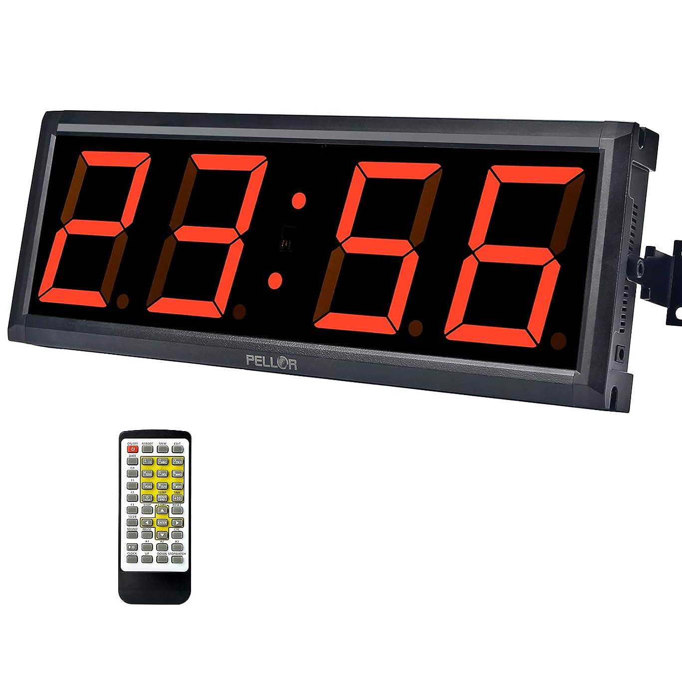 可決続けるゴネリルPellor スポーツタイマー トレーニングタイマー LED壁掛け時計 リモコン付き 多機能 トレーニング フィットネス ゲーム用 LEDタイマー ジム 屋内 日本語説明書付き