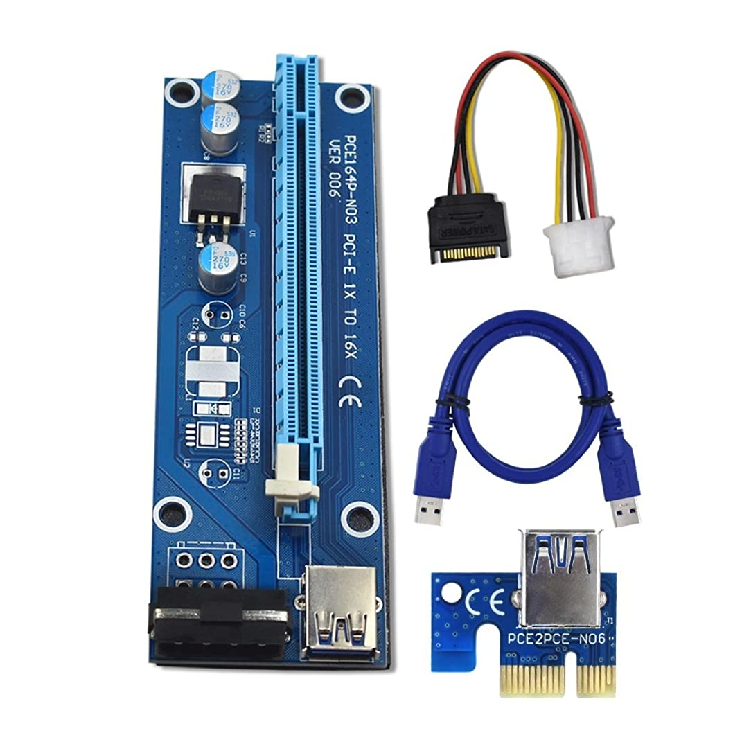 YiFeng 1-Pack PCI-E PCI Express VER 006 1x to 16x Powered Riser Adapter Card w/ 60cm USB 3.0 Extension Cable & 4-Pin MOLEX to SATA Power Cable GPU Riser Adapter - Ethereum Mining ETH