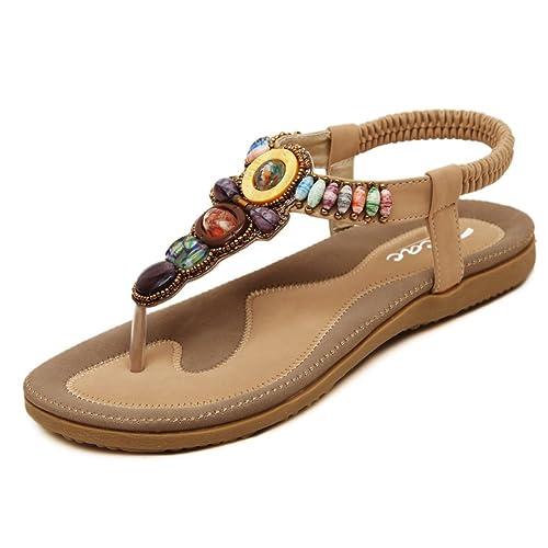 ad2f64b9fd95 Zicac Women s Clip Toe Sandals Summer Bohemia Rhinestone Bead Folk Dunlop  Sandals Boho Beach Flip Flops