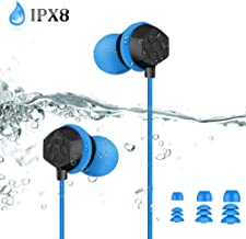IPX8 Waterproof Headphones, AGPTEK SE14 Wired in-Ear Earbuds, Secure Fit for Swimming, Surfing, Running, Gym Workout, 3.5mm Earphones with Stereo Bass, Extension Cable and Replacement Eartips, Blue