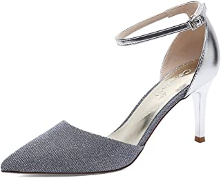 Sandals Female 2019 New Pointed Wine Glass with Low to Help A Word Buckle with A Single Shoe Stiletto Sexy High Heels Simple Waterproof Platform Shoes (Color : Silver, Size : 38)