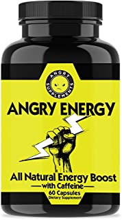 Angry Energy Caffeine Capsules by Angry Supplements, All Natural Non-GMO Energy Booster, Increase Stamina & Focus, Mind & Body Health (1-Bottle)