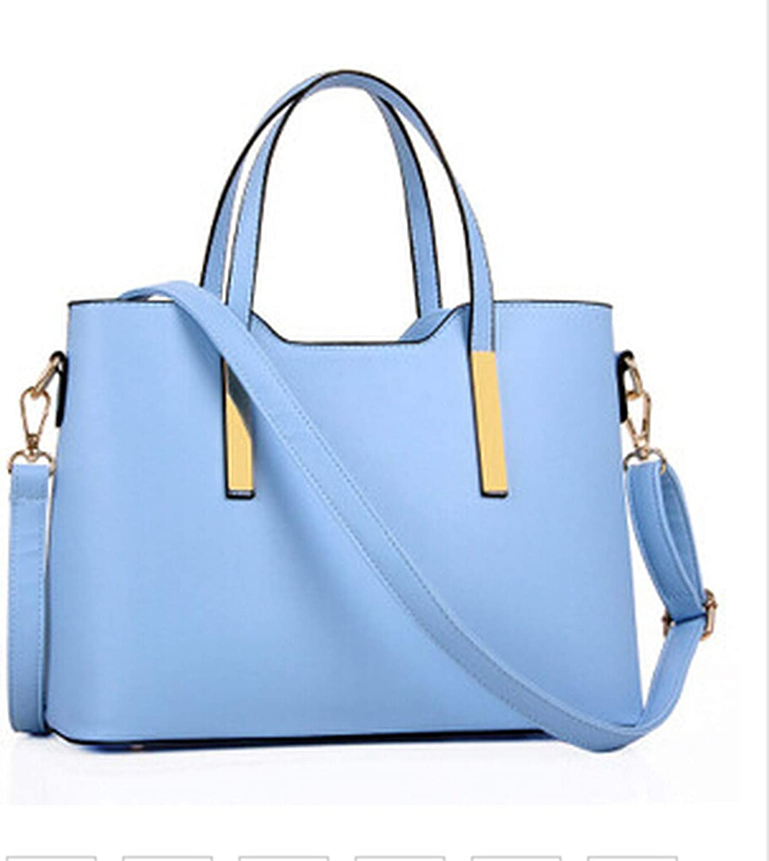 100% leather Women 2018 new bags female stereotypes fashion handbag Handbag,Sky bluee