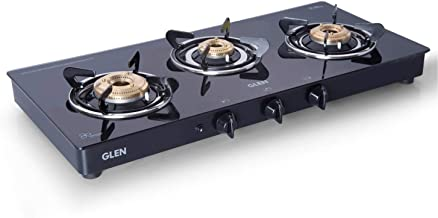 Glen 3 Burner Gas Stove Auto Ignition with SS Drip Tray (CT3B73BLBBAI Cooktop, Black)