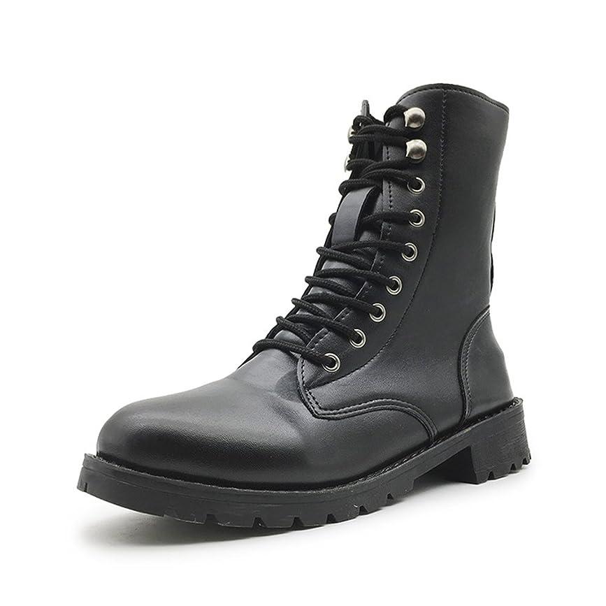 入学する正確食べるレディース ブーツ 編み上げ 黒 大きいサイズ ミドルブーツ 前厚 厚底 ハイヒール プラットフォーム 防滑 歩きやすい 身長UP 保温 おしゃれ カジュアル