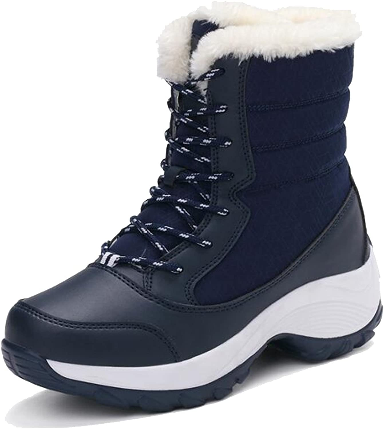COVOYYAR Women's Lace Up Warm Fur Snow Boots Wedge Heel Winter shoes