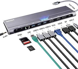 Azdome HUB USB C Adaptador 12 en 1,4K HDMI/VGA/DP/USB 3.0/Tipo C/Tarjeta SD/Tarjeta TF/Ethernet RJ45│Concentrador Multipuerto para MacBook,Mac Pro,Chromebook,Huawei,Windows Lenovo,Xiaomi,DELL,Samsung
