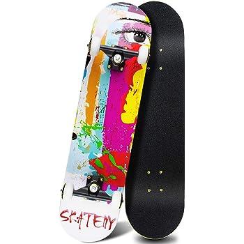 ANDRIMAX Skateboards-Complete Skateboards for Beginners Kids Boys Girls Adults Youth-Standard Skateboards 31''x8'' with 7 Lays Maple Deck Pro Skateboards, Longboard Skate Boards