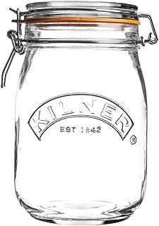 Kilner FE738 Clip Top Round Preserve Jar, 1000ml Capacity, Pack of 4, clear