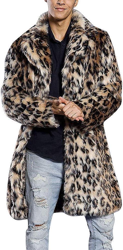 Mens Leopard Warm Outerwear Thick Jacket Collar Coat Faux Fur Parka Cardigan