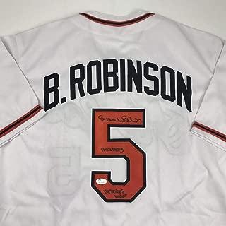 Autographed/Signed Brooks Robinson 1970 WS MVP HOF 1983 Baltimore White Baseball Jersey JSA COA Holo