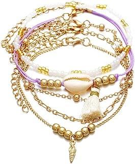 Conjunto de 5 Piezas Pulsera de Concha con Flecos Mujer Cuerda de Mano Trenzada de múltiples Capas para niña Tobilleras Hembra Ajustable