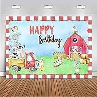 Studio Youtubeバナー 新生児シャワーのハッピーバースデーテーマパーティー シームレスな小道具の写真 幸せな農場赤い家緑の草かわいい動物 背景ビニール折りたたみ式 カートゥーン