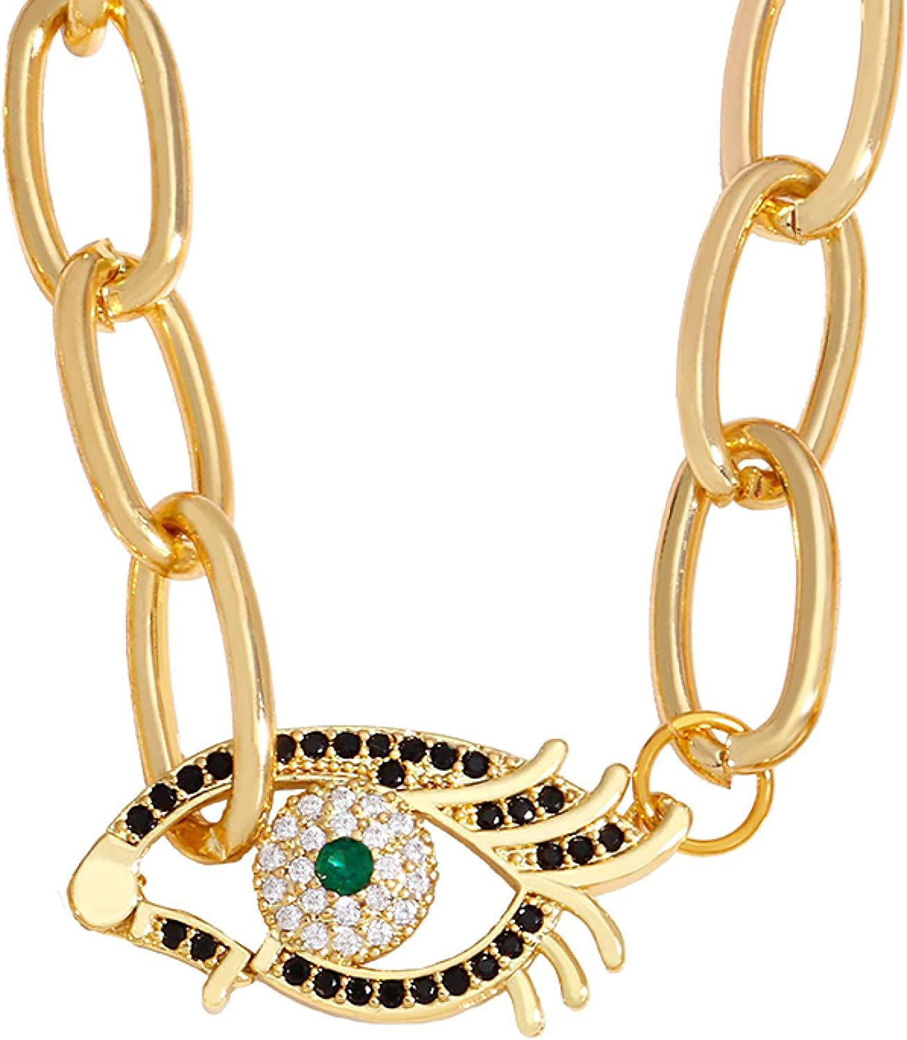 Gold Chain Blue Evil Eye Necklace Green Crystal Oval Choker Neck